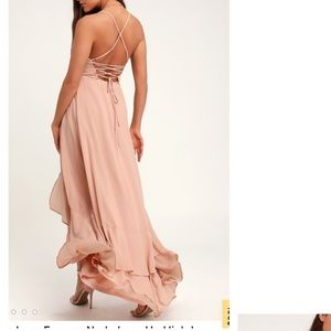 In Love Forever Nude Lace Up High Low Maxi Dress